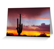 Arizona Sunset with Lightning Strike Greeting Card