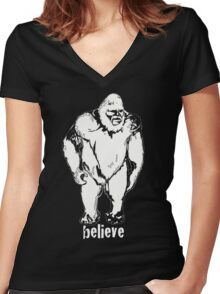Believe in Bigfoot Women's Fitted V-Neck T-Shirt