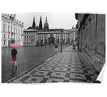 woman in pink umbrella Poster