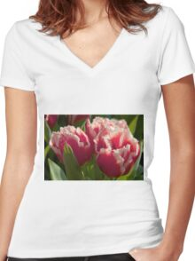 Fringed tulips Women's Fitted V-Neck T-Shirt