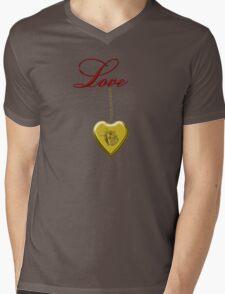 Golden Rose Locket With Love Mens V-Neck T-Shirt