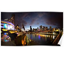 Melbourne skyline at night - poster Poster