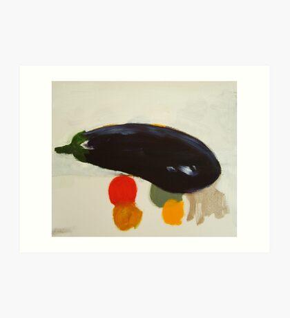 eggplant , lemon and tomato 2 - study Art Print