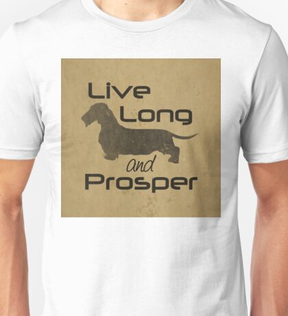 Live Long and Prosper Dachshund, Wire, Wirehair, Coat, Hair, Trekkie, Star Trek, Dog, Silhouette  Unisex T-Shirt