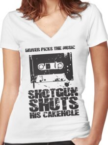 Driver Picks the Music Women's Fitted V-Neck T-Shirt