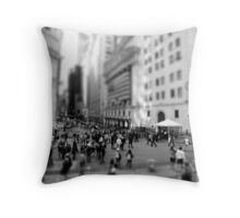 New York Wall Street & Stock Exchange Black and White Throw Pillow