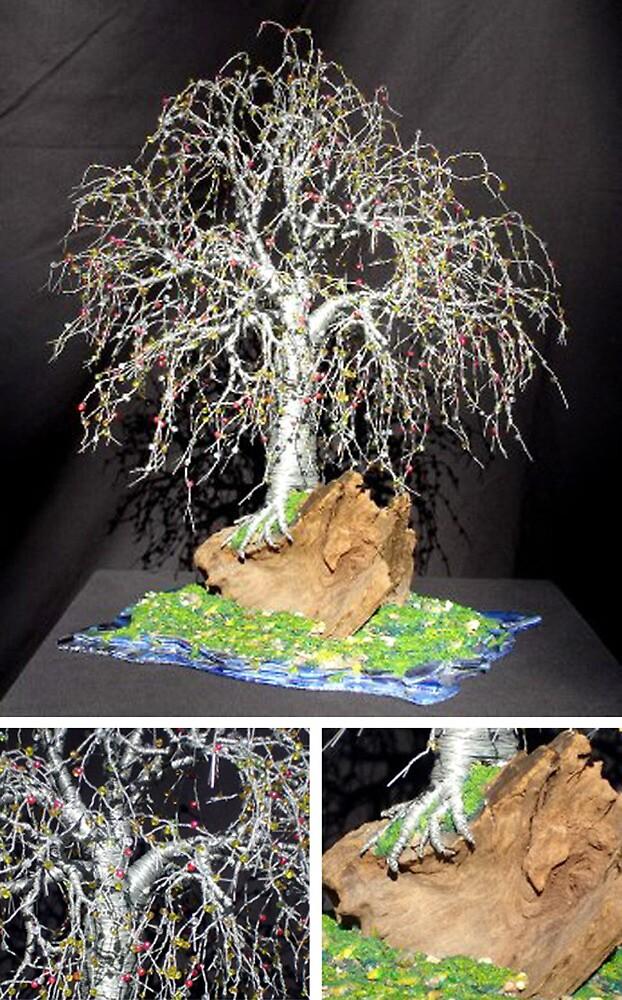 Bonsai Island #2, wire tree sculpture by Sal Villano