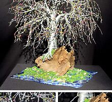 Bonsai Island #2, wire tree sculpture by Sal Villano