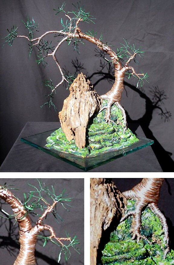 Cascade on Glass, wire tree sculpture by Sal Villano