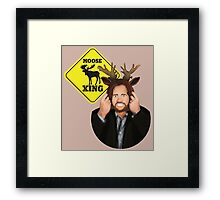 Moose Crossing Framed Print