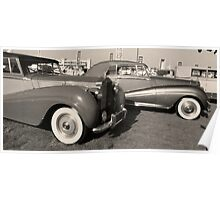 Black and White Vintage Cars Poster