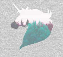 """""""Dreamland Unicorn"""" - Woodland Purple Teal Woods Dreamy Dream Evergreen Trees Into the Wild Horse Equine Mythical Creature Unisex T-Shirt"""