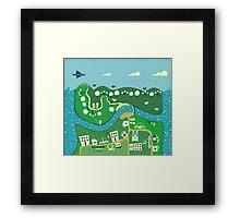cartoon map Framed Print