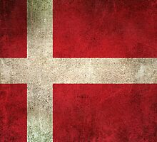 Old and Worn Distressed Vintage Flag of Denmark by Jeff Bartels