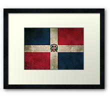 Old and Worn Distressed Vintage Flag of Dominican Republic Framed Print