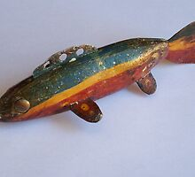 Folk Art Ice Fishing Decoy / Rainbow by westduluthfolk