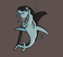 ©DA Cartoon Shark BW One Piece - Short Sleeve