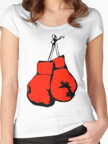 Hanging Boxing Gloves Women's Fitted Scoop T-Shirt