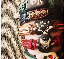 Crafty Accessories' handmade leather bracelets by Roxi8bit
