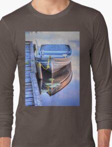 Row Boat Moored at Lonely Lake Long Sleeve T-Shirt