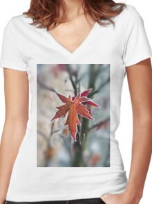 Maple In Frost Women's Fitted V-Neck T-Shirt