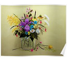 Wildflowers in a Vase - A wish for spring Poster