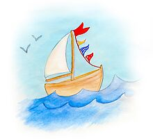 Watercolor whimsical sail boat on a windy day by Sarah Trett