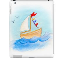 Watercolor whimsical sail boat on a windy day iPad Case/Skin