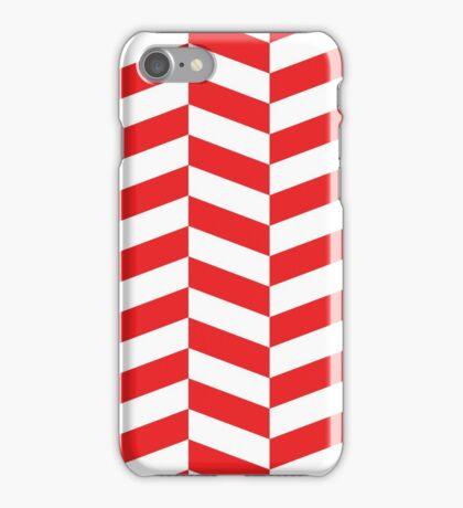 Red & White Herringbone Pattern iPhone Case/Skin