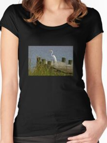 Egret on a Pier Women's Fitted Scoop T-Shirt