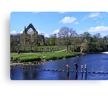 Stepping Stones and Bolton Abbey Canvas Print