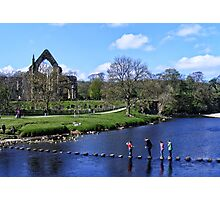 Stepping Stones and Bolton Abbey Photographic Print