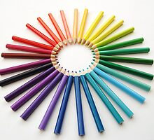 angled circle of rainbow pencils by angimoo
