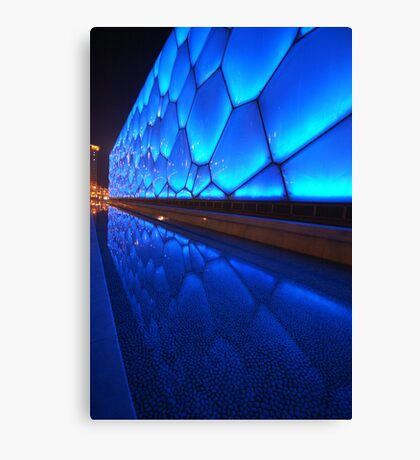 Blue water building Canvas Print
