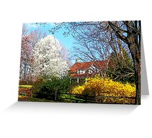 House on the Hill in Spring Greeting Card