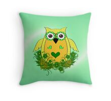 Pretty Green Owl Throw Pillow