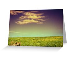 Tranquility in cloud and green slope Greeting Card