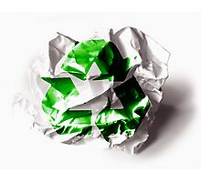Recycle sign on torn paper background Photographic Print