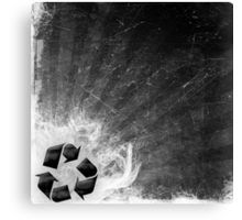 Recycle sign on grunge background Canvas Print