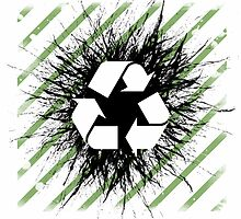 Recycle sign on grunge background by queensoft
