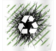 Recycle sign on grunge background Poster