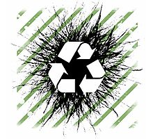 Recycle sign on grunge background Photographic Print
