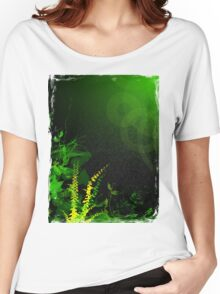 Abstract Digital Green Leaves Background Women's Relaxed Fit T-Shirt