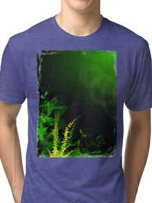 Abstract Digital Green Leaves Background Tri-blend T-Shirt