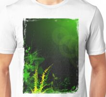 Abstract Digital Green Leaves Background Unisex T-Shirt