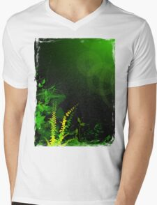 Abstract Digital Green Leaves Background Mens V-Neck T-Shirt