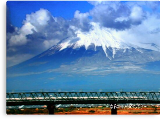 Mt. Fuji & Bullet Train in Japan by Pam Moore