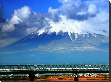 Mt. Fuji & Bullet Train in Japan by Pam Moore