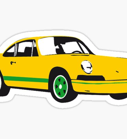 Yellow Sports Car, Illustration Sticker