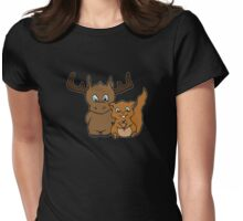 Moose and squirrel Womens Fitted T-Shirt